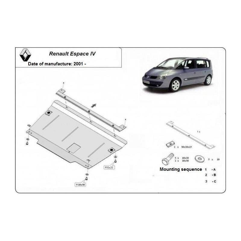 renault espace iv kryt pod motor 1.6, 1.8, 1.9dci, 2.0dci, 2.2dci