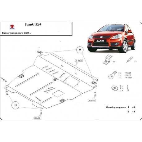 Suzuki SX4-2WD, 4WD (cover under the engine) 1.5, 1.6 (4x4), 1.9TD - Metal sheet