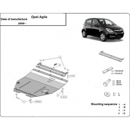 Opel Agila kryt pod motor 1.0, 1.1, 1.3 - Plech