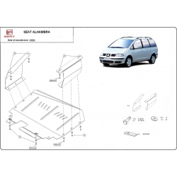 Seat Alhambra (cover under the engine) 1.9, 2.0, 2.5TDi - Metal sheet
