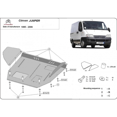 Citroen Jumper (cover under the engine) 1.9D, 1.9TD, 2.0, 2.3JTD, 2.5TD, 2.8JTD - Metal sheet