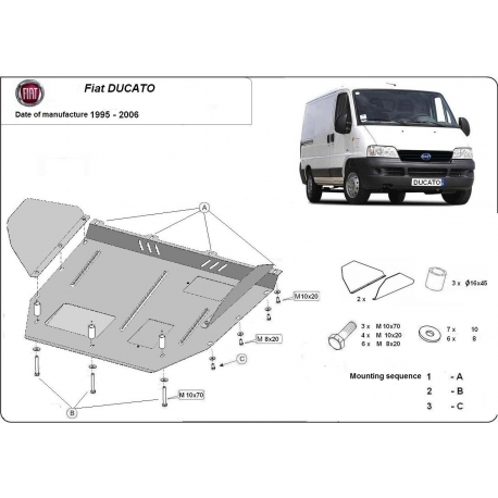 Fiat Ducato (cover under the engine) 1.9D, 1.9TD, 2.0, 2.3JTD, 2.5 TD, 2.8JTD - Metal sheet