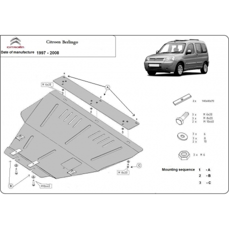 Citroen Berlingo (cover under the engine) 1.1, 1.4, 1.6 16V, 1.6HDI, 1.8D, 1.9D - Metal sheet
