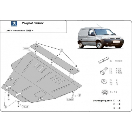 Peugeot Partner (cover under the engine) 1.8, 1.9D, 1.9TD, 2.0HDi, 2.3JTD, 2.5TD - Metal sheet