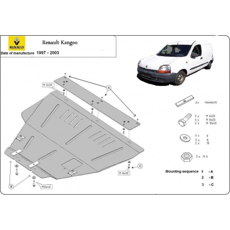 Renault Kangoo (cover under the engine) 1.8, 1.9D, 1.9TD, 2.0HDi, 2.3JTD, 2.5TD - Metal sheet