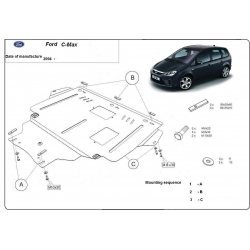 Ford C-Max (cover under the engine) 1.4, 1.6, 1.6TD, 2.0, 2.0TD - Metal sheet