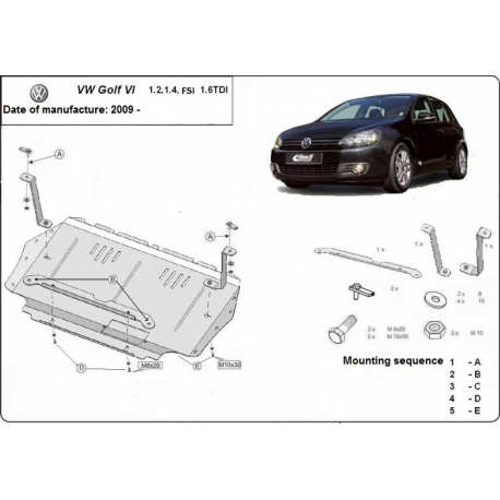 VW Golf 6 (cover under the engine) 1.4, 1.6FSI, 1,6TDi - Metal sheet