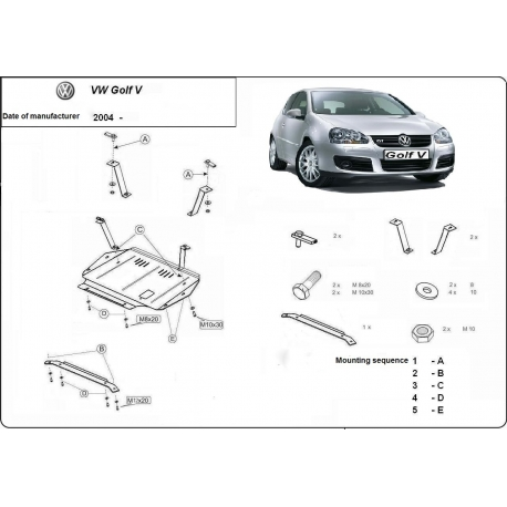 VW Golf 5 (cover under the engine) 1.4, 1.6, 1.9TD, 2.0, 2.0TD - Metal sheet
