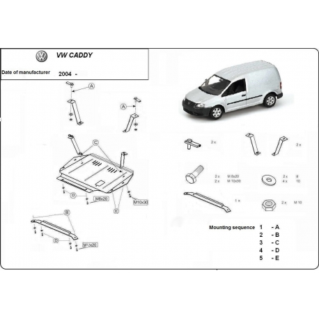 VW Caddy (cover under the engine) 1.9PD, TDi - Metal sheet