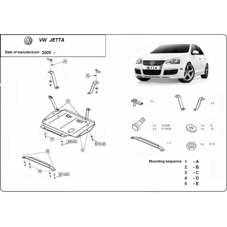 VW Jetta (cover under the engine) 1.6, 1.9TD, 2.0, 2.0TD - Metal sheet