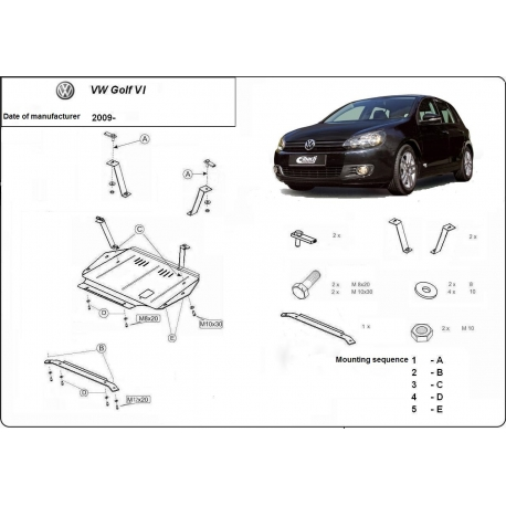VW Golf 6 (cover under the engine) 1.4, 1.6, 1.9TD, 2.0, 2.0TD - Metal sheet