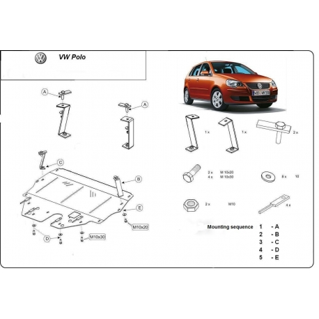 VW Polo II (cover under the engine) 1.2, 1.4, 1.9TDi - Metal sheet