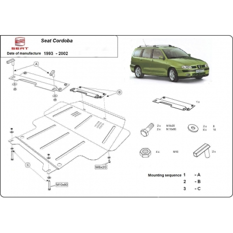 Seat Cordoba (cover under the engine) 1.4, 1.6 - Metal sheet