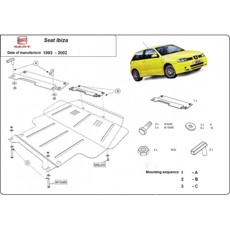 Seat Ibiza (cover under the engine) 1.0, 2.0 - Metal sheet