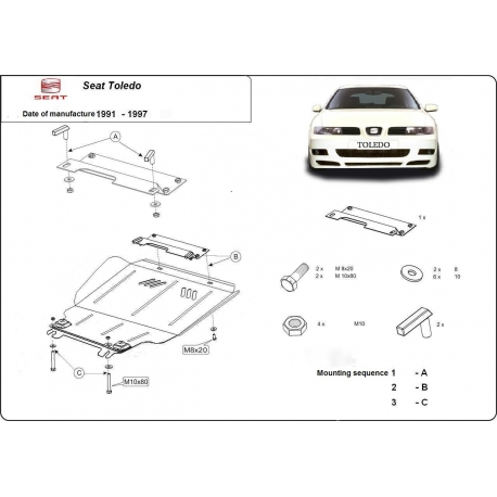 Seat Toledo (cover under the engine) 1.6 - Metal sheet