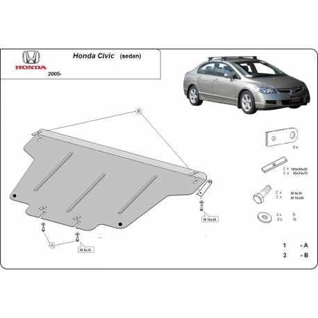 Honda Civic (sedan) (cover under the engine) 1.8, 1.3 Hybrid - Metal sheet