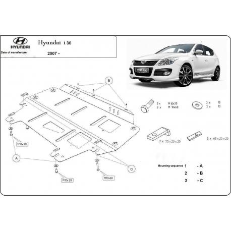 Hyundai i30 (cover under the engine) 1.4, 1.6, 2.0 - Metal sheet