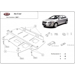 Kia Ceed (cover under the engine) 1.4, 1.6, 2.0 - Metal sheet