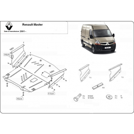 Renault Master (cover under the engine) 1.9dTi, 2.2dCi, 2.5dCi, 2.8dCi, 3.0dCi - Metal sheet