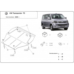 VW T5 (cover under the engine) 1.9TDi, 2.0i, 2.5TDi, 3.2 - Metal sheet
