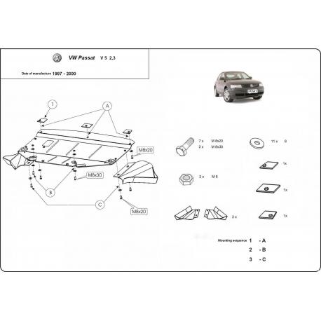 VW Passat B5 (cover under the engine) V5, 2.3 - Metal sheet