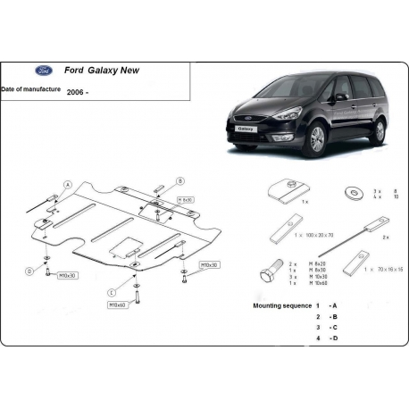 Ford Galaxy kryt pod motor 1.8, 2.0, 2.2TDi - Metal sheet
