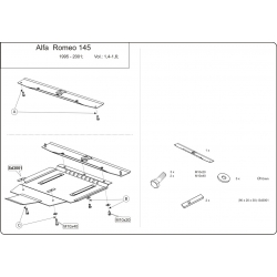 Alfa Romeo 146 (cover under the engine and gearbox) 1.4, 1.6, 1.7, 1.8 16V, 1.9 TD - Metal sheet