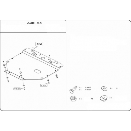 Audi A4 (cover under the engine) 1.6, 1.8, 2.0 - Metal sheet
