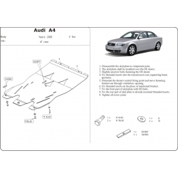 Audi A4 (cover under the engine and gearbox) expect Quattro - Metal sheet