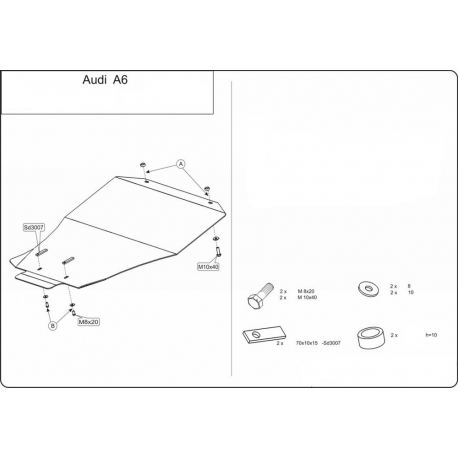 Audi A6 (cover under the engine and gearbox) - Aluminium
