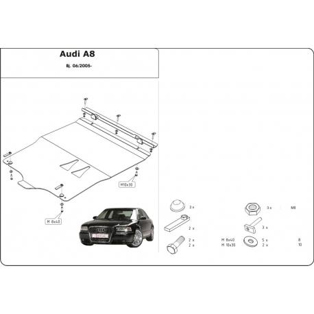Audi A8 Kryt pod motor a převodovku 3.2 FSI, 4.2 FSI, 4.2 TDI - Hliník
