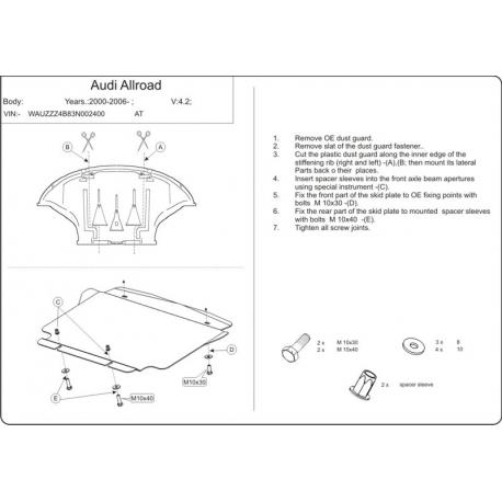 Audi Allroad kryt pod motor - Hliník