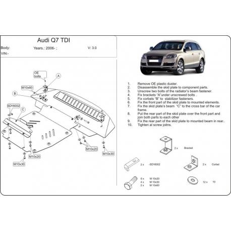 Audi Q7 (cover under the engine) 3.0 TDI, 4.2 TDI - Aluminium