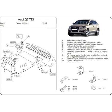 Audi Q7 ne s Off Road Style Paket (cover under the engine) 3.0 TDI, 4.2 TDI - Metal sheet