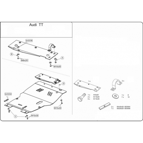 Audi TT (cover under the engine and gearbox) 1.8, 2.0 - Metal sheet