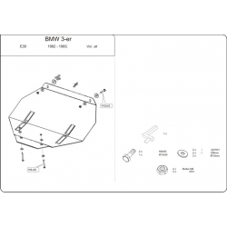 BMW E30 (cover under the engine) 1.5, 1.6, 1.8 - Metal sheet