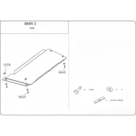 BMW E46 (Cover the automatic transmission) 2.5 (4x4) - Metal sheet