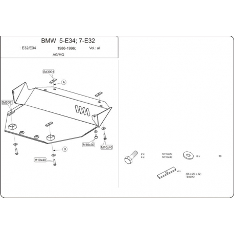 BMW E34 (cover under the engine) expect 2.5 (4x4) - Metal sheet
