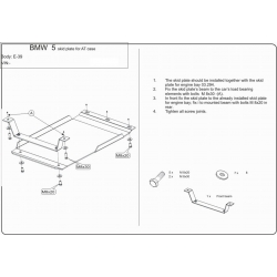 BMW E39 (Cover the automatic transmission) 2.0, 2.3, 2.5, 2.8 - Metal sheet