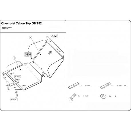 Chevrolet Tahoe (cover under the engine) 5.3, 6.2 - Aluminium