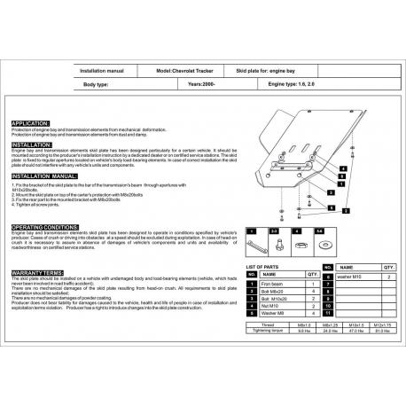 Chevrolet Tracker (cover under the gearbox) 1.6, 2.0 - Aluminium