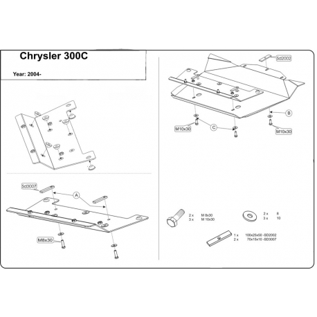 Chrysler 300 C (cover under the engine) 5.7, 6.1 - Metal sheet