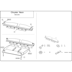 Chrysler Neon I (cover under the engine and gearbox) 1.8, 2.0 - Metal sheet