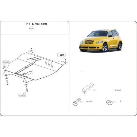 Chrysler PT Cruiser (cover under the engine and gearbox) 1.6, 2.2 CRD, 2.4 - Metal sheet
