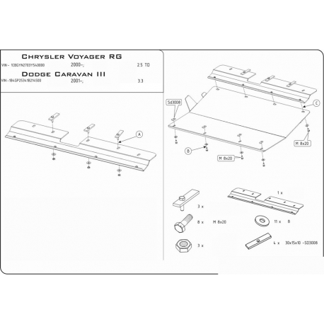 Chrysler Voyager (cover under the engine and gearbox) - Metal sheet