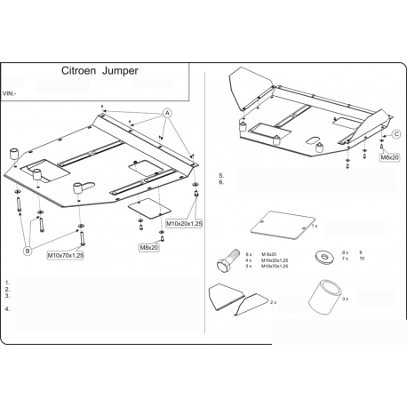 Citroen Jumper (cover under the engine and gearbox) - Metal sheet