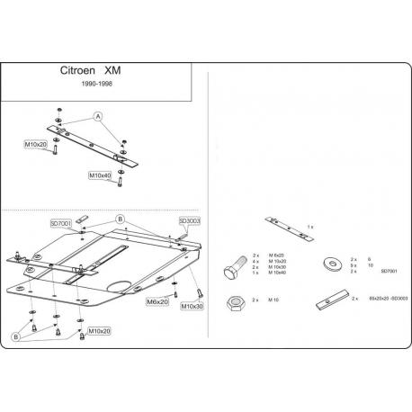 Citroen XM (cover under the engine) - Metal sheet