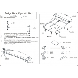Dodge Neon II (cover under the engine and gearbox) 1.6, 2.0 - Metal sheet