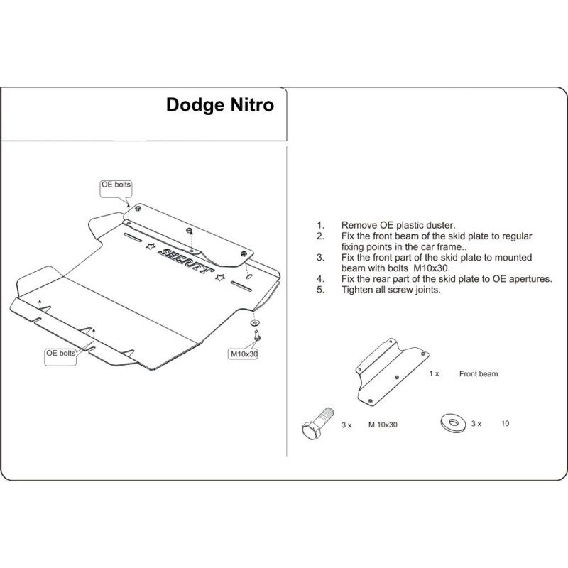 dodge nitro cover under the engine 2 8crd 3 7 4 0 metal sheet