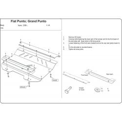 Fiat Punto Kryt pod motor a převodovku - Plech